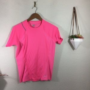 Nike Fit Dry pink stretchy work out tee shirt